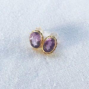 Vintage 14k Gold 2tcw Amethyst Stud Earrings